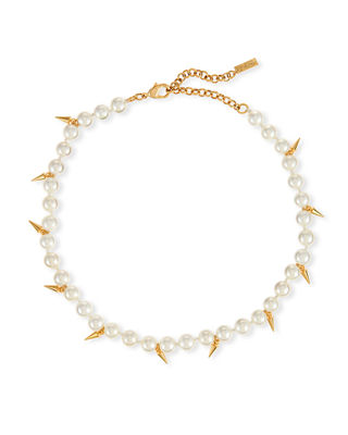 Image 1 of 2: Linda Pearly Spike Choker Necklace