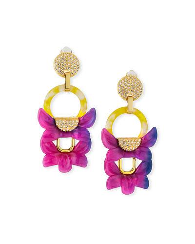 Rio Crystal Floral Drop Clip-On Earrings
