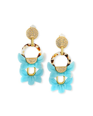 Lele Sadoughi Rio Crystal Floral Drop Clip-On Earrings