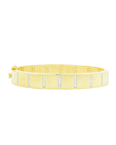 Freida Rothman Radiance Wide Hinge Bangle w/ Cubic Zirconia