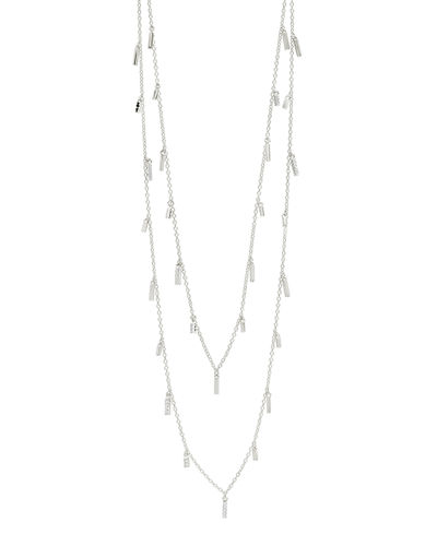 14k Long Cubic Zirconia Droplet Station Necklace