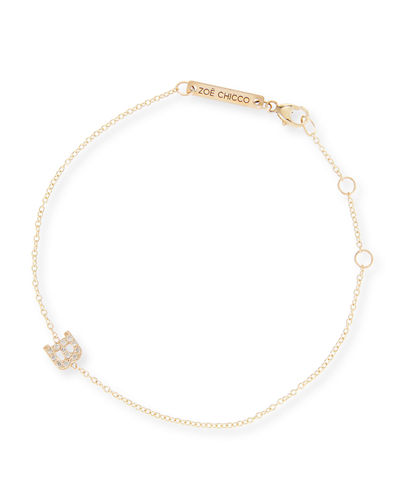 14k Pave Diamond Single-Initial Bracelet