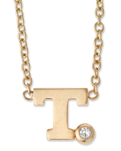 14k Pave Initial Pendant Necklace with 0.01 Diamond