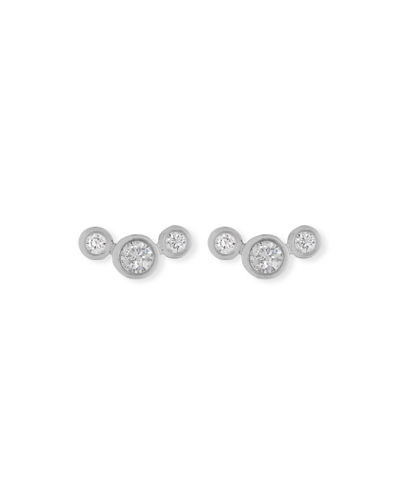 14k Curved Graduated Diamond Stud Earrings