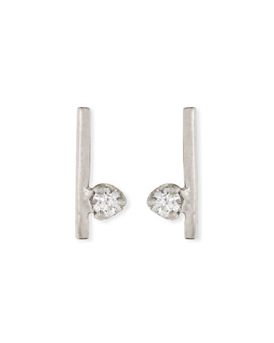 14k Diamond Bar Stud Earrings