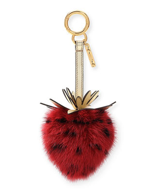 MINK FUR STRAWBERRY CHARM FOR HANDBAG