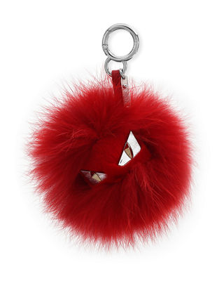 Bag Bugs Monster Fox And Rabbit Fur Bag Charm in Red