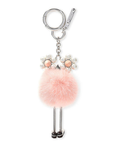 Chick Pompom Mink with Pearl Eye Bag Charm
