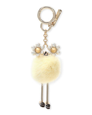 Chick Pompom Mink With Pearl Eye Bag Charm in F137K Yello