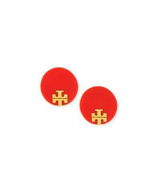 Image 1 of 2: Enamel Logo Stud Earrings