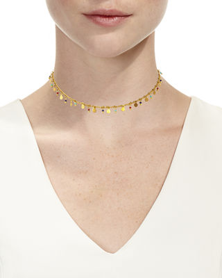 Image 2 of 2: Hanging Coin Bead Choker Necklace