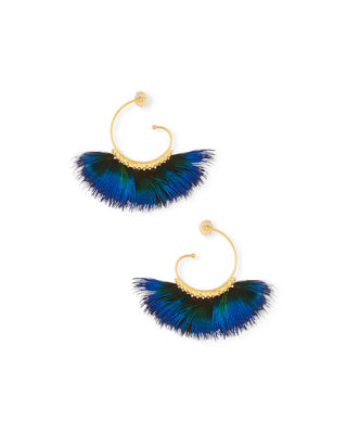Gas Bijoux Buzios Feather Fan Hoop Earrings