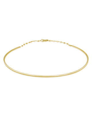 14K Thin Wire Choker Necklace, Gold