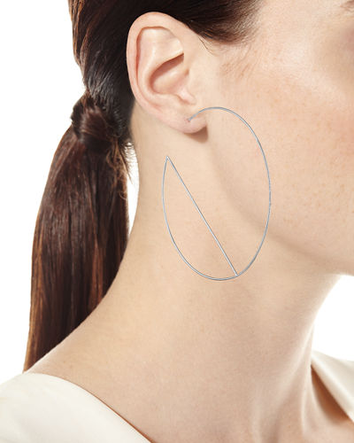 14k Diagonal Wire Hoop Earrings