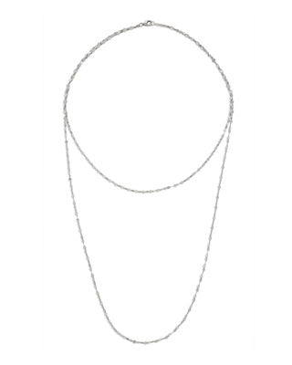 LANA 14K Double Blake Layered Chain Necklace in White Gold