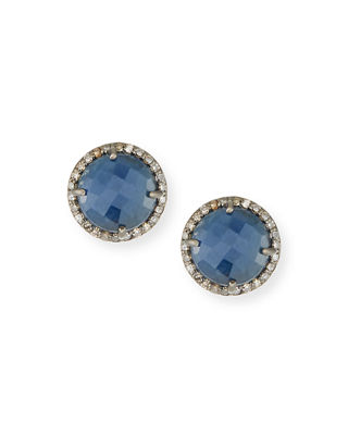 Margo Morrison Faceted Stone & Diamond Button Stud Earrings BPef6XRs