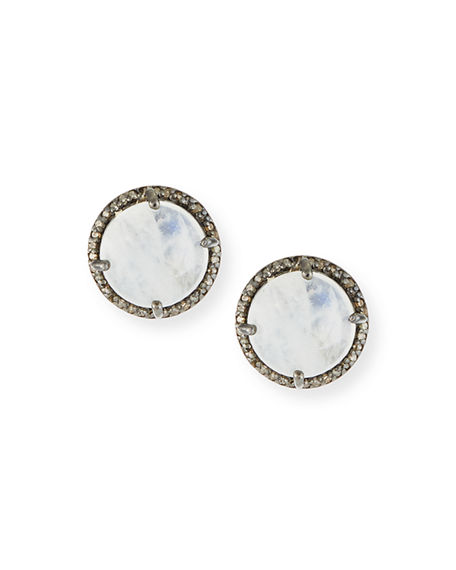 Margo Morrison Faceted Stone & Diamond Button Stud Earrings