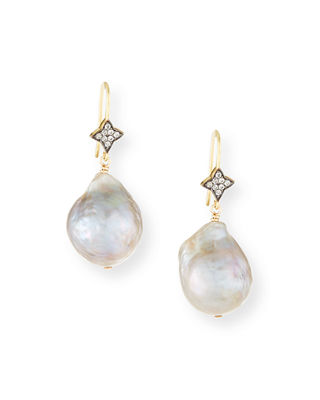 Baroque Pearl & Sapphire Drop Earrings by Margo Morrison
