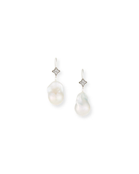 Margo Morrison Baroque Pearl & Sapphire Drop Earrings