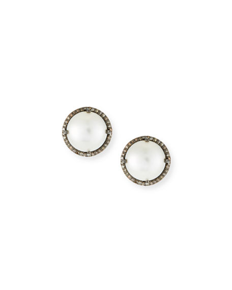 Margo Morrison Pearl & Diamond Stud Earrings