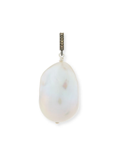 Baroque Pearl & Diamond Pendant in Sterling Silver