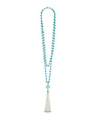 18k Caviar™ Forever Beaded Pearl Tassel Necklace, 36""
