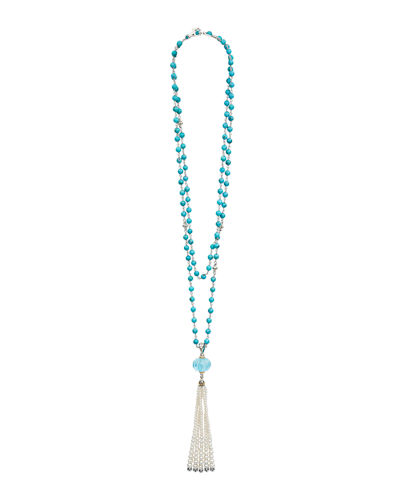 18k Caviar™ Forever Beaded Pearl Tassel Necklace, 36