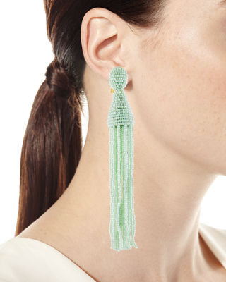 Oscar de la Renta Long Seed-Bead Tassel Clip-On