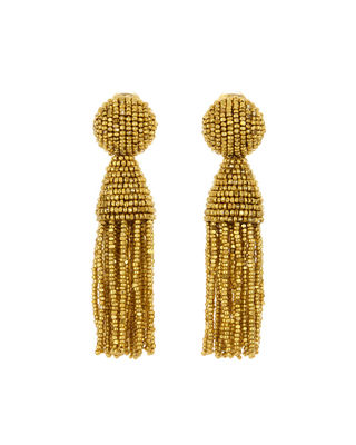 Oscar de la Renta Short Beaded Tassel Clip-On