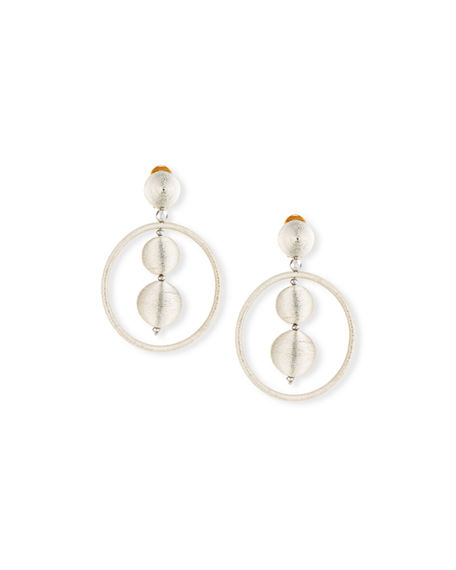 Oscar de la Renta Threaded Bead Hoop Earrings