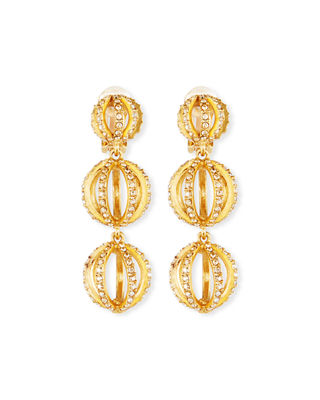 Oscar de la Renta Globe Triple-Drop Earrings w/