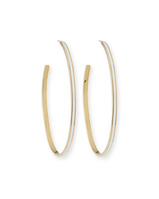TAI Enamel Hoop Earrings in White