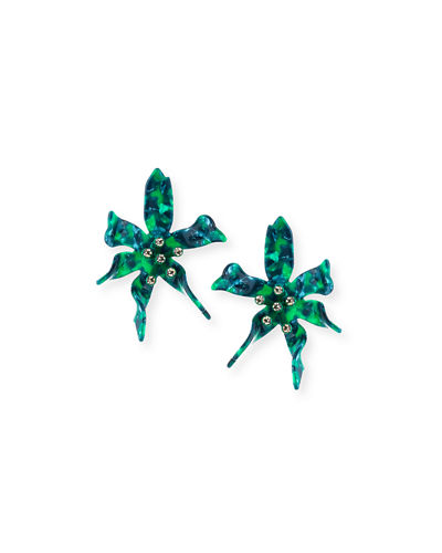 Water Lily Glower Earrings w/ Crystals