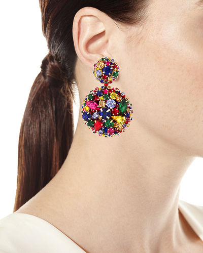 Bold Disc Clip-On Earrings w/ Crystals