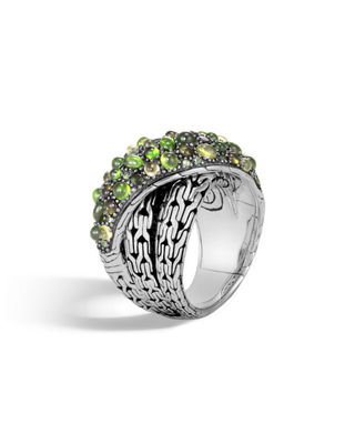 Sterling Silver Classic Chain Crossover Ring With Green Tourmaline, Chrome Diopside & Peridot
