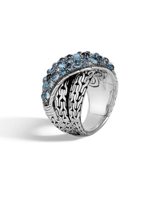 Classic Chain Silver, London Blue Topaz, Swiss Blue Topaz & Blue Zircon Crossover Ring