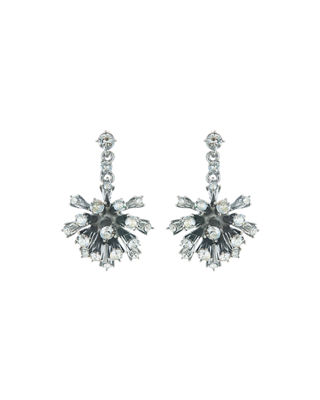 Oscar de la Renta Crystal Dandelion Drop Earrings