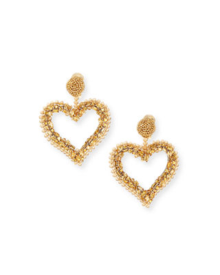 Oscar de la Renta Beaded Heart Clip-On Earrings