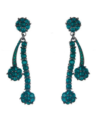 Oscar de la Renta Crystal Double Drop Earrings