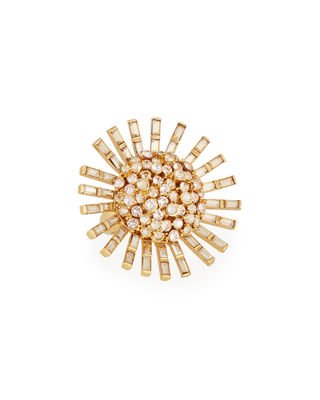 Jeweled Flower Statement Ring in Gold