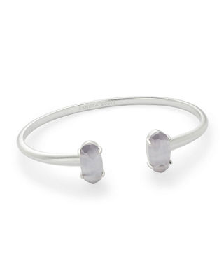 Kendra Scott Edie Two-Stone Bangle Bracelet in Rhodium