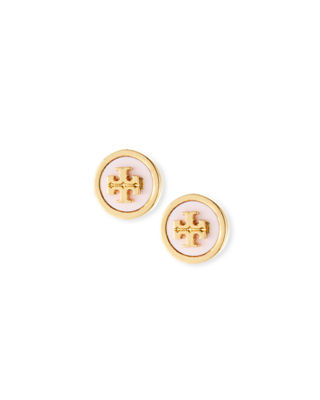 Lacquered Logo Stud Earrings, Lotus Pink/ Tory Gold
