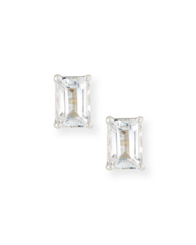 14k Emerald-Cut Petite Stud Earrings