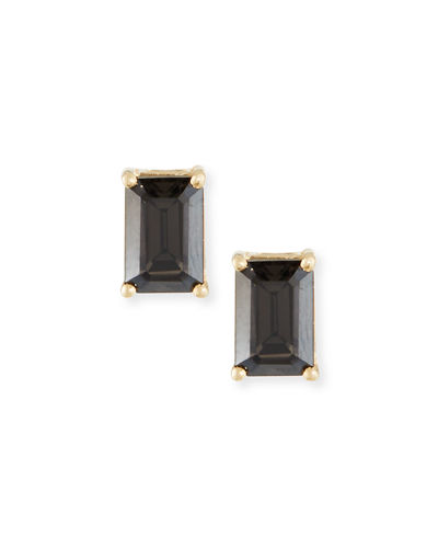 14k Gold Emerald-Cut Stud Earrings