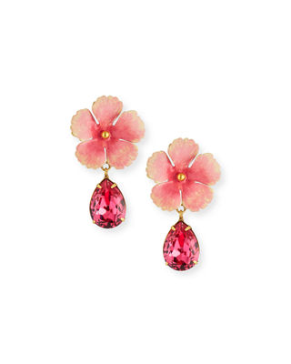 Jennifer Behr Lucia Flower & Crystal Drop Earrings