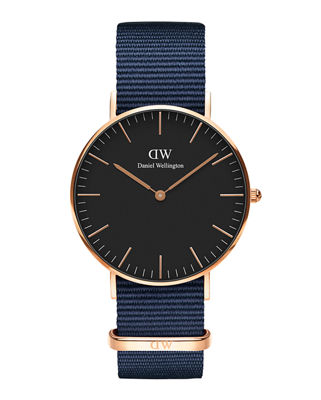 DANIEL WELLINGTON 36Mm Classic Bayswater Watch W/ Nylon Strap in Blue/ Black / Rose Gold