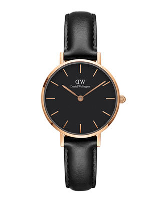 DANIEL WELLINGTON 28Mm Classic Petite Sheffield Watch W/ Leather Strap in Black / Rose Gold