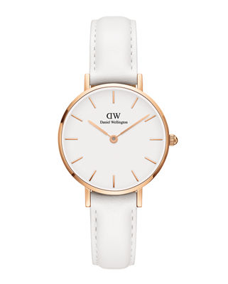 DANIEL WELLINGTON 28Mm Classic Petite Bondi Watch W/ Leather Strap in White/ Rose Gold