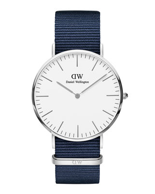 40Mm Classic Bayswater Watch W/ Nylon Strap in Blue/ White/ Silver
