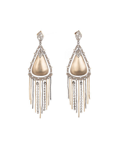 Crystal Encrusted Tassel Drop Earrings